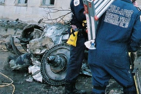 Arlington, VA, September 13, 2001-- The main entrance to the search and rescue operations at the Pentagon  following Tuesday's attack.Photo by Jocelyn Augustino/ FEMA News Photo